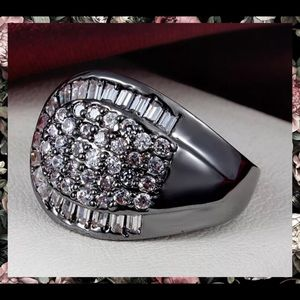 Black Gold Paved White Sapphire Statement Ring